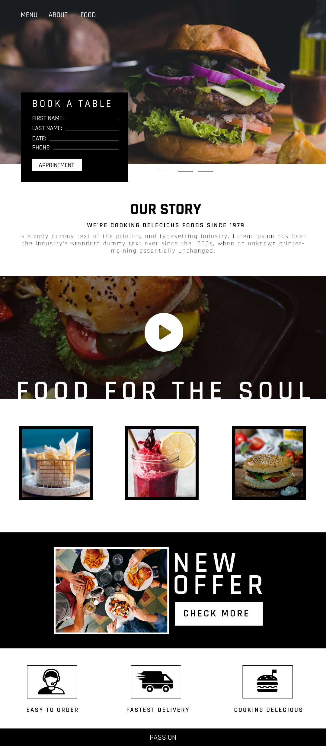 Design a website template for a restaurant