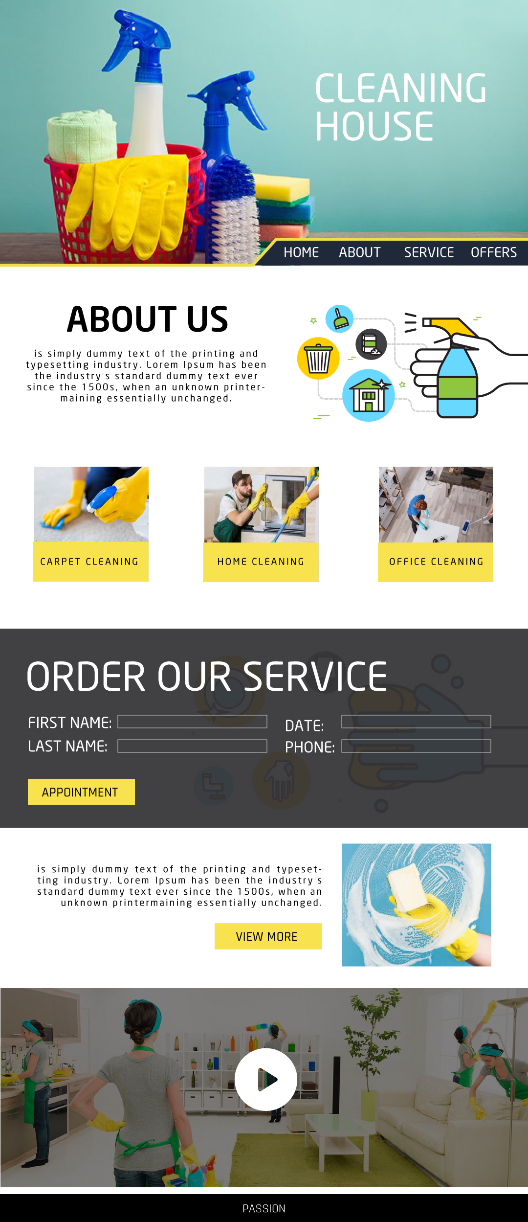Design a website template for a cleaning company