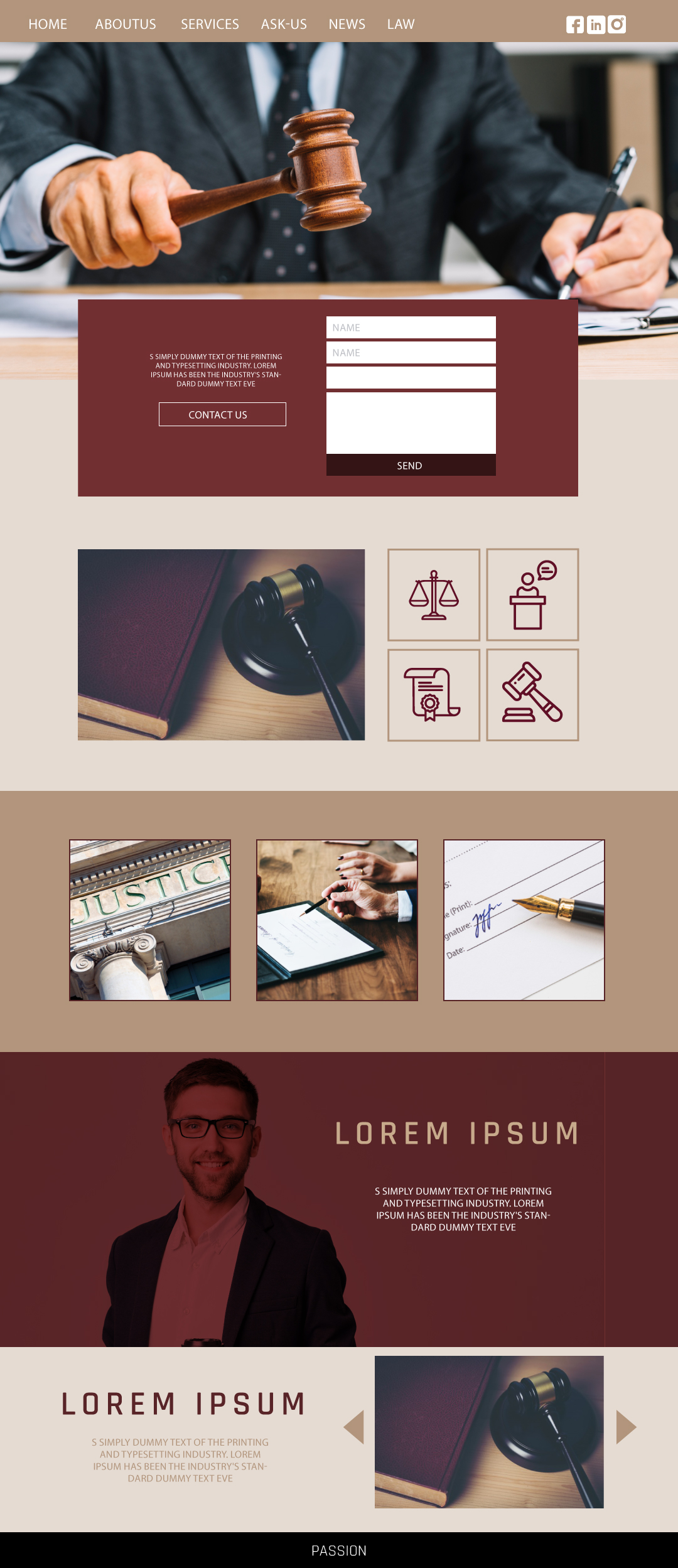 Designing a website template for a law company