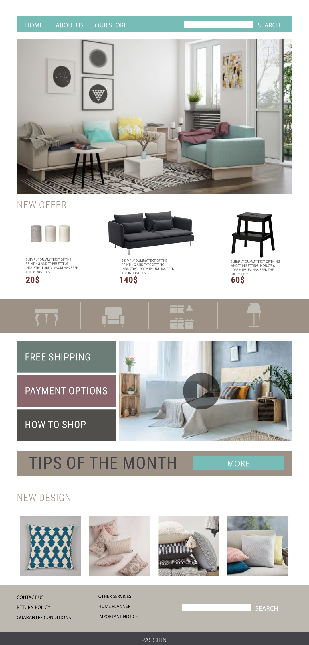 Design a website template for a furniture store