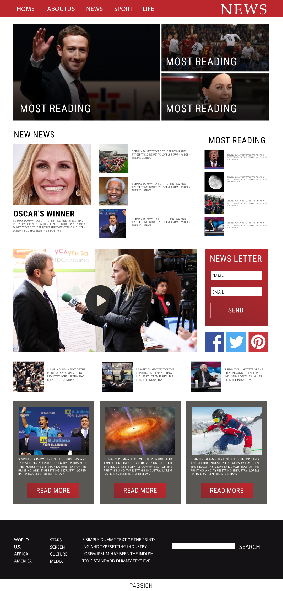 Design a news website template