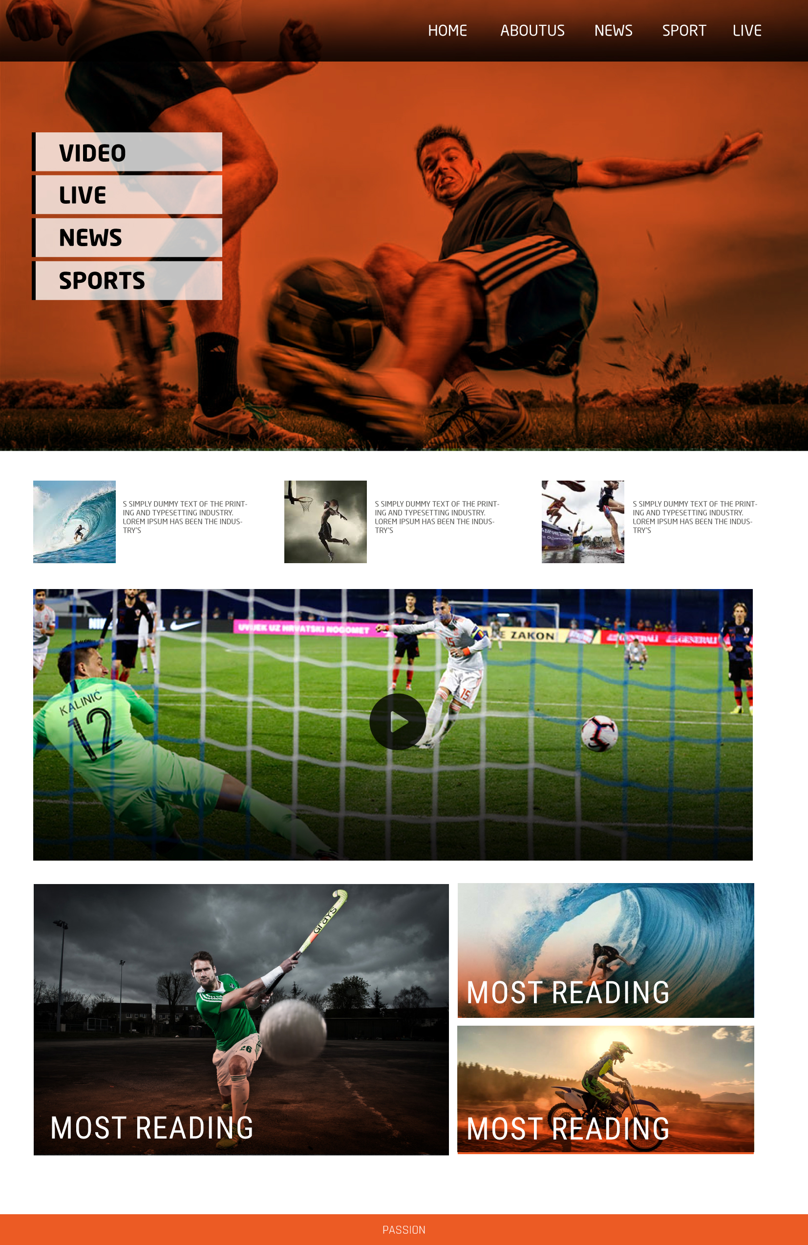 Design a Web site template for a sport